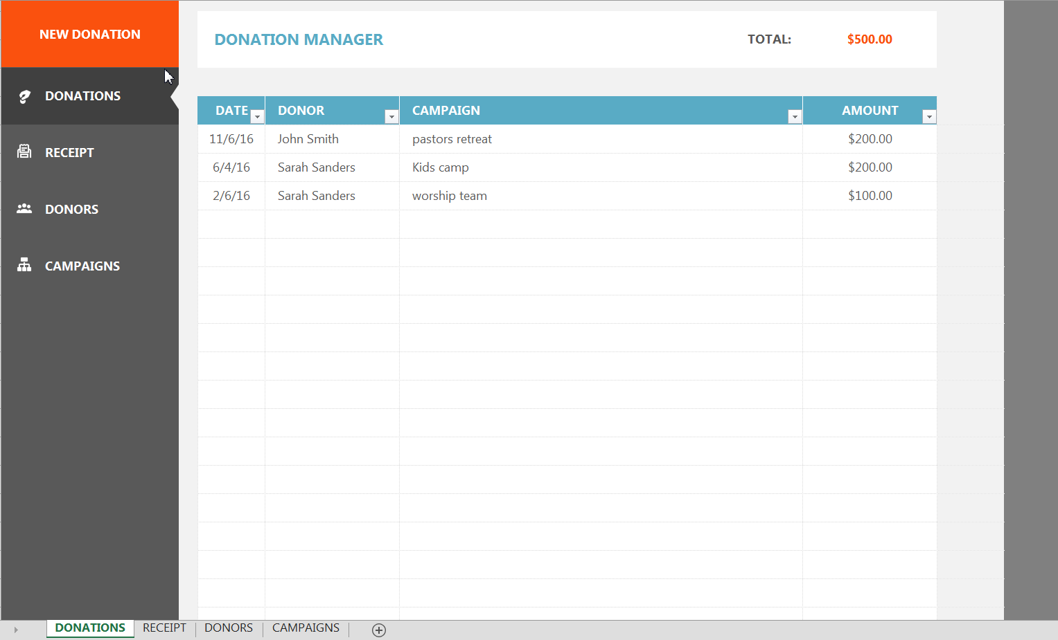 donor tracking spreadsheet  u0026gt  donor management excel