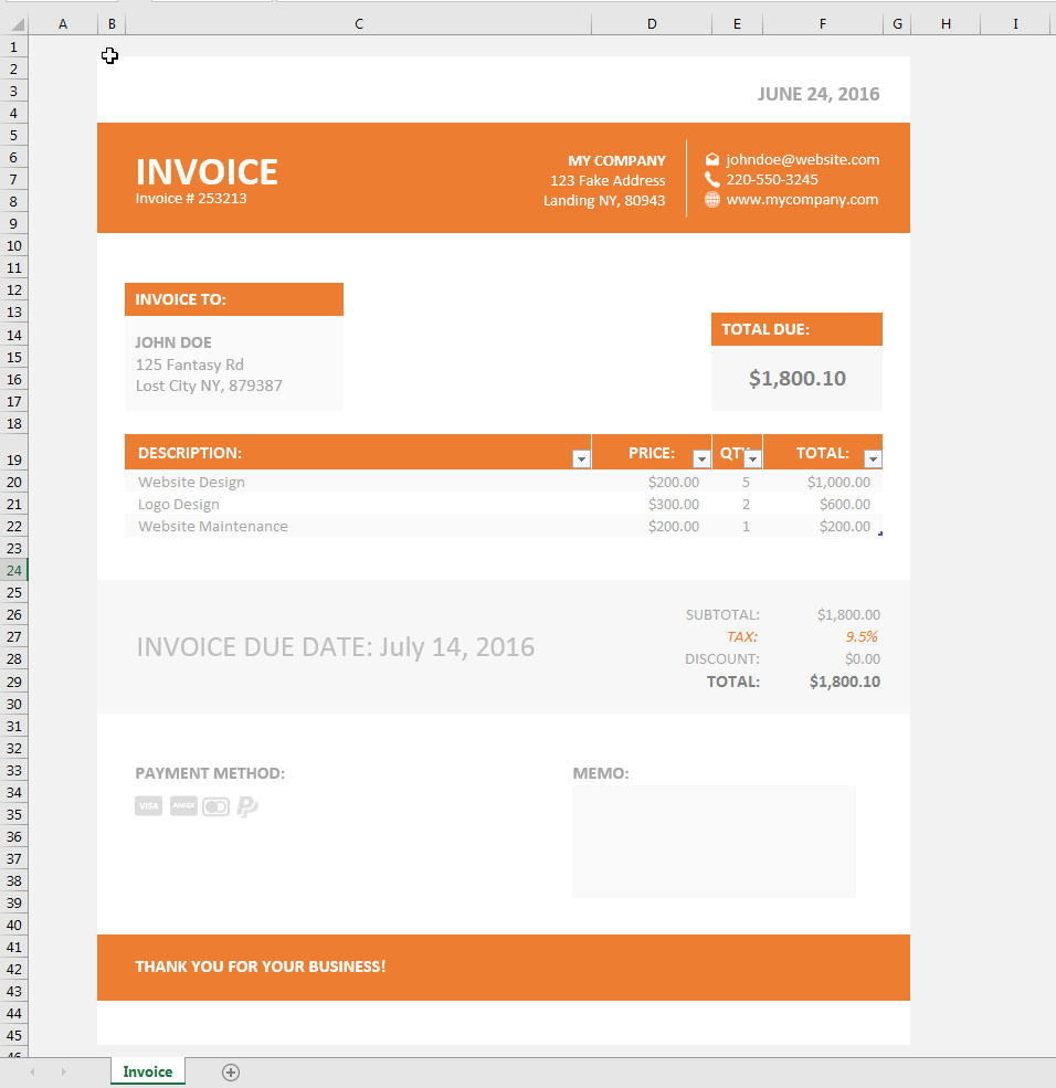 Invoice Template XLS   Simple Invoice Template Excel  Invoice For Excel