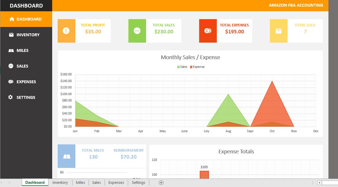 Amazon FBA Accounting Spreadsheet (Design 2)